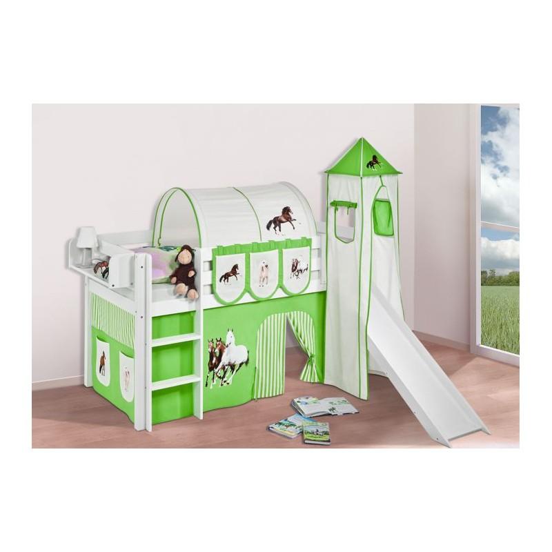 comprar cama bali con tobogan cortinas caballo verde y somier