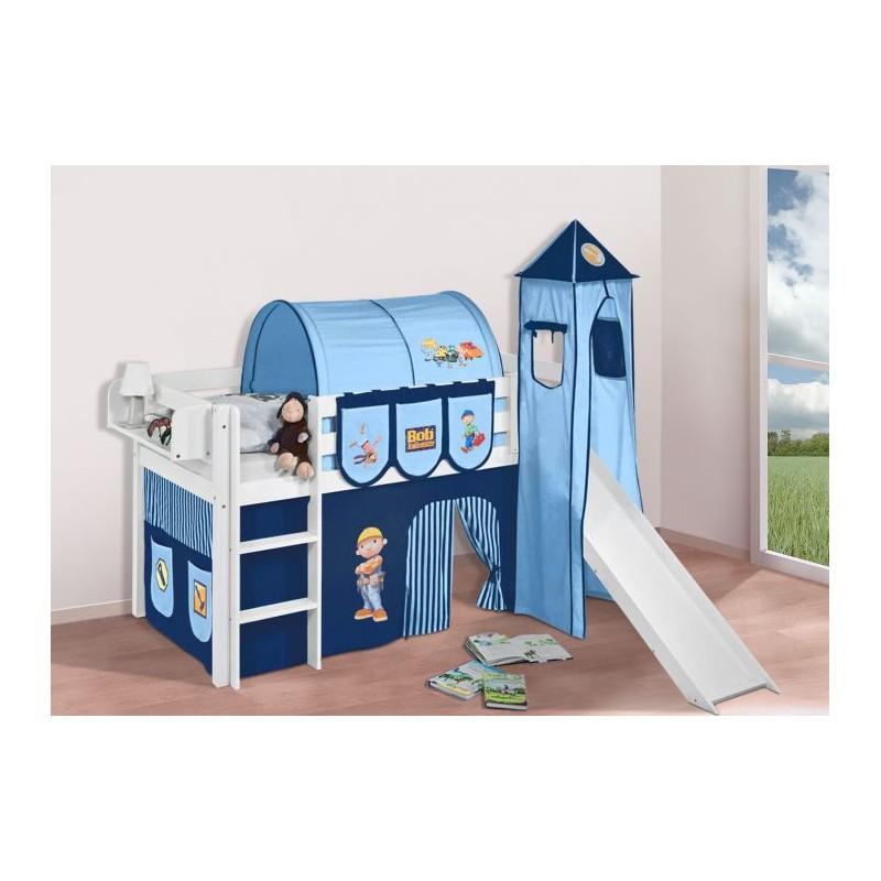 comprar cama bali con tobogan cortinas chico bob azul y somier