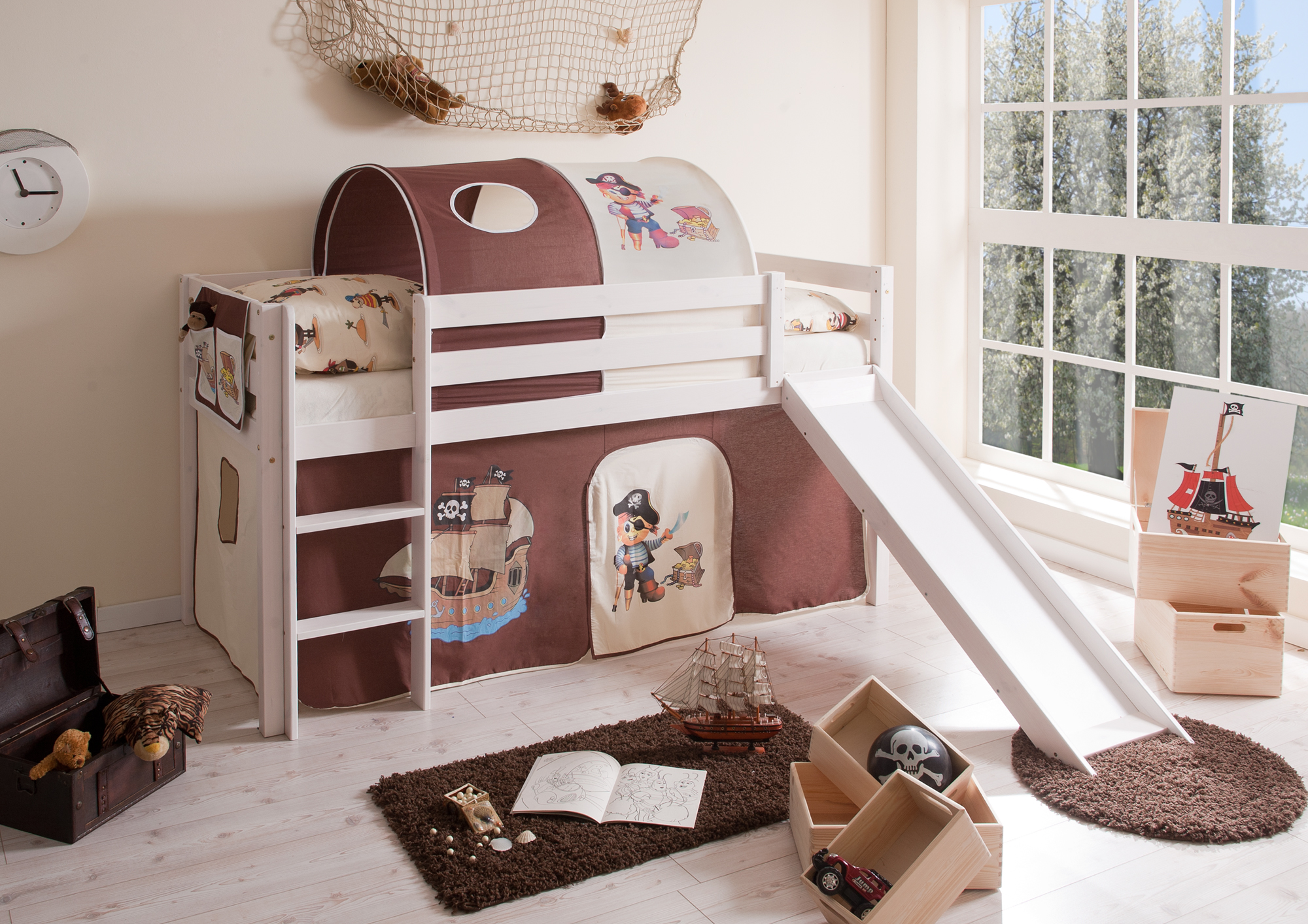 comprar cama bali con tobogan cortinas pirata marron y somier-1