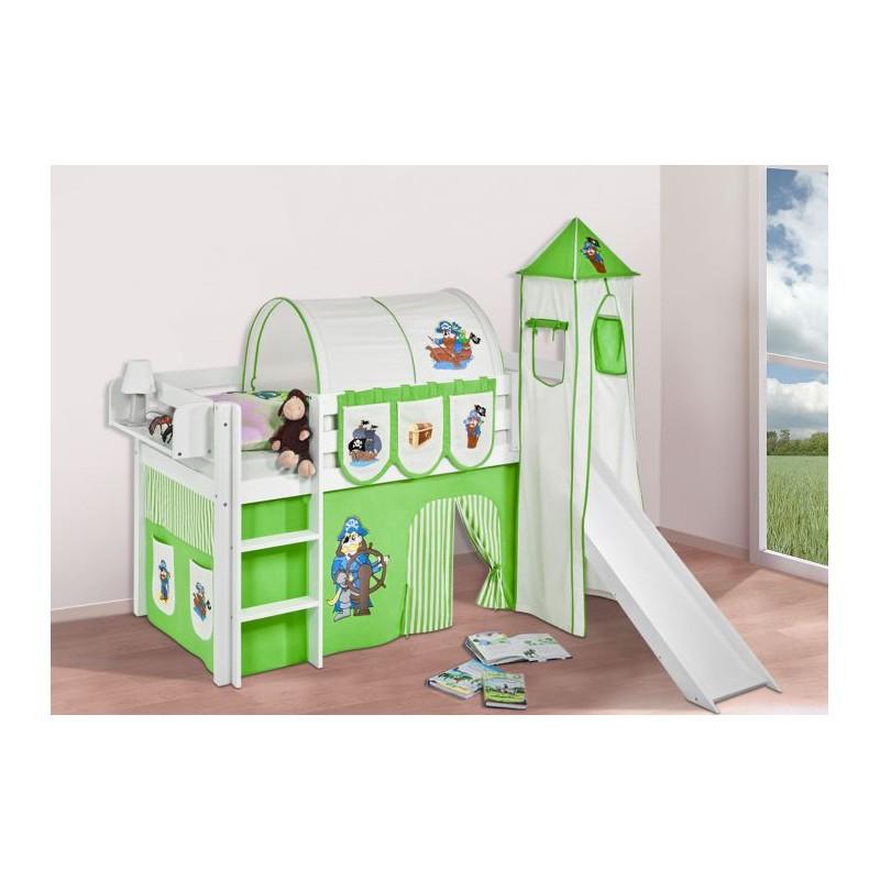 comprar cama bali con tobogan cortinas pirata verde y somier