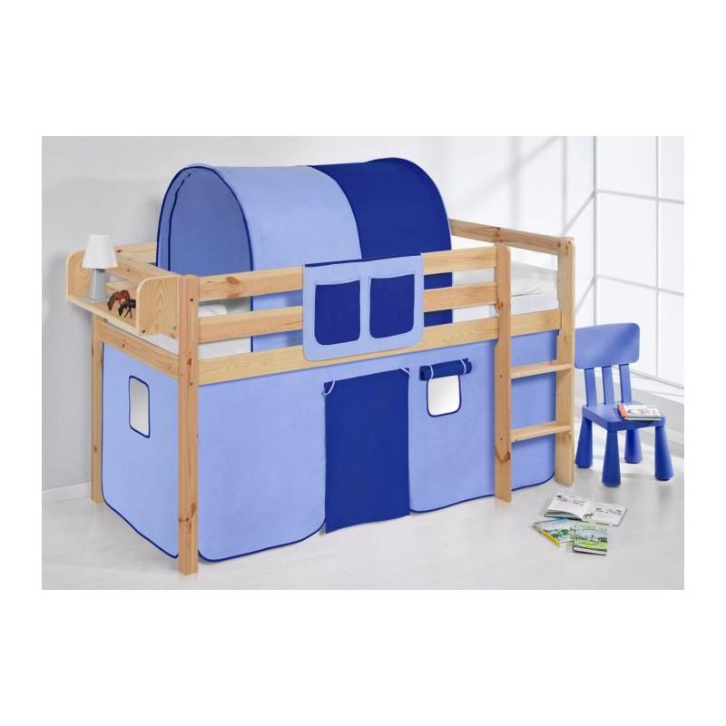 comprar cama bali natural con cortinas azul claro azul oscuro y somier