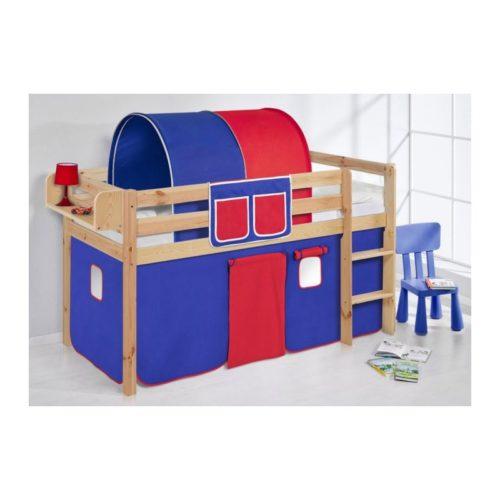 comprar cama bali natural con cortinas azul rojo y somier