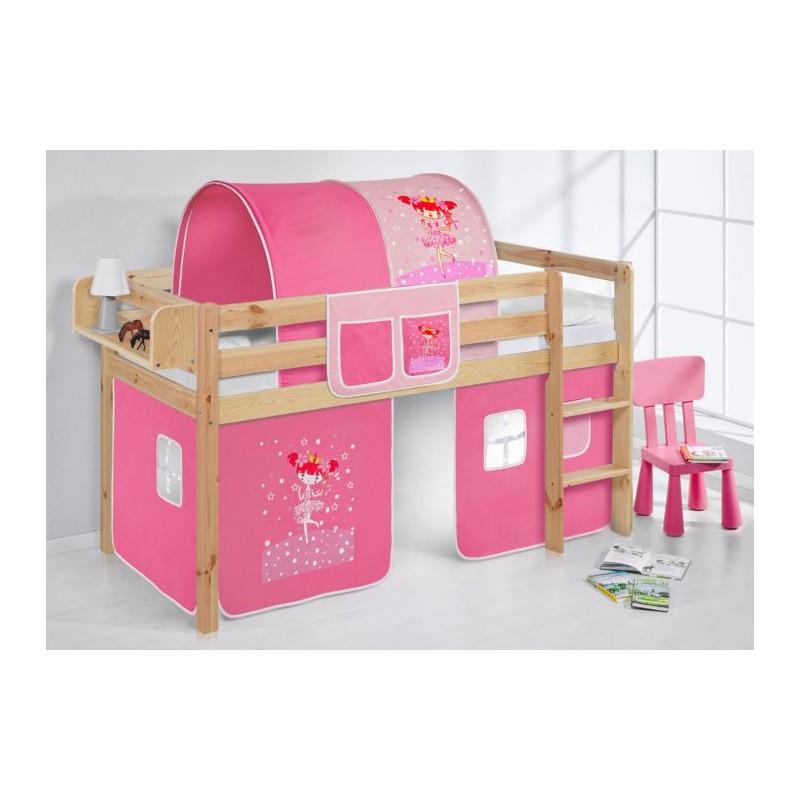 comprar cama bali natural con cortinas bailarina rosa y somier