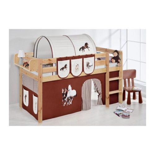 comprar cama bali natural con cortinas caballo marron y somier