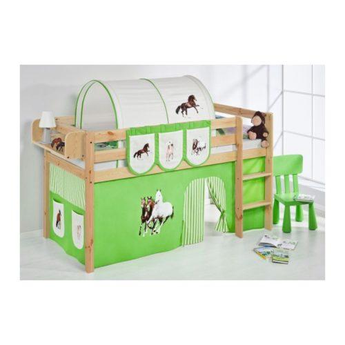 comprar cama bali natural con cortinas caballo verde y somier