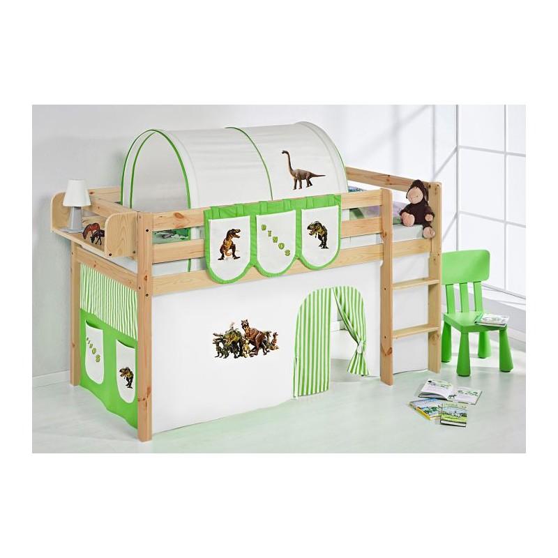 comprar cama bali natural con cortinas dinosaurio verde y somier