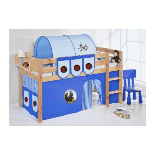 comprar cama bali natural con cortinas dragon azul y somier
