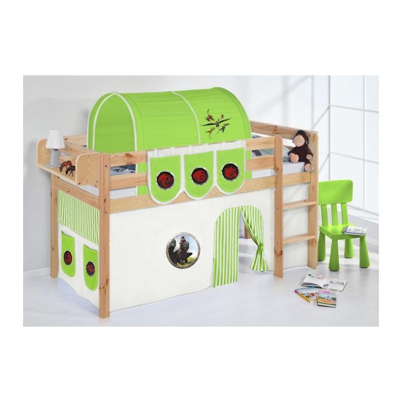 comprar cama bali natural con cortinas dragon verde y somier