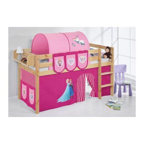 comprar cama bali natural con cortinas frozen rosa y somier