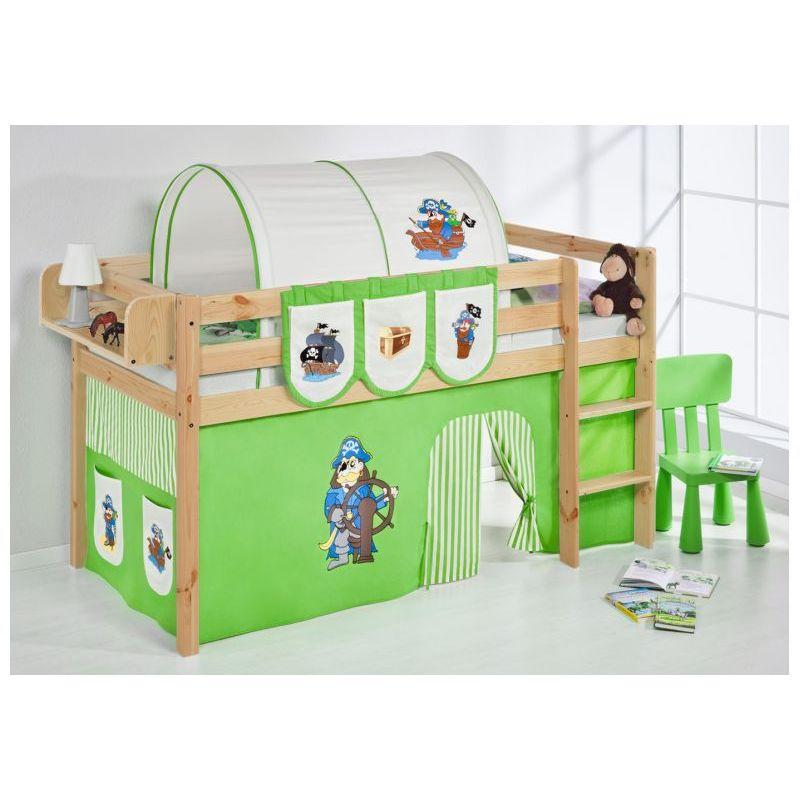 comprar cama bali natural con cortinas pirata verde y somier