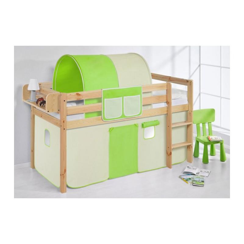 comprar cama bali natural con cortinas verde beige y somier