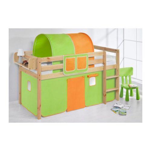 comprar cama bali natural con cortinas verde naranja y somier