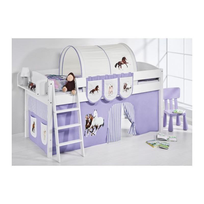 comprar cama corcega con cortinas caballo lila y somier