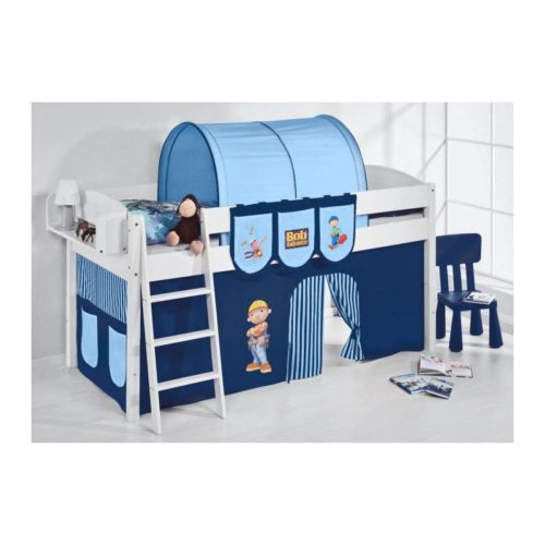 comprar cama corcega con cortinas chico bob azul y somier