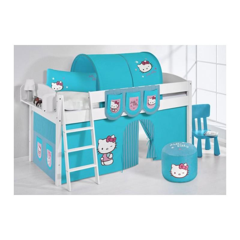 comprar cama corcega con cortinas hello kitty azul y somier