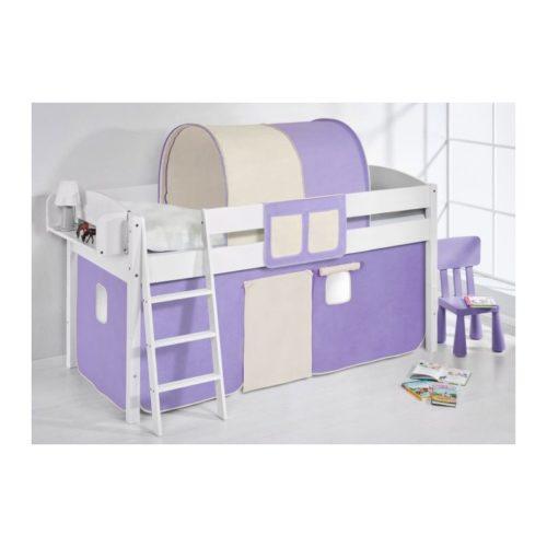 comprar cama corcega con cortinas lila beige y somier