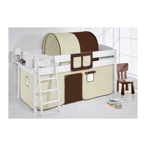 comprar cama corcega con cortinas marron beige y somier