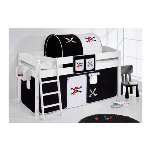 comprar cama corcega con cortinas pirata negro blanco y somier