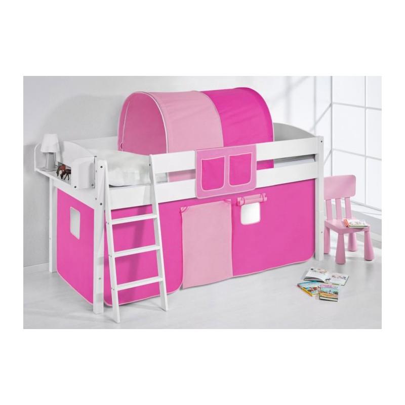 comprar cama corcega con cortinas rosa pink y somier