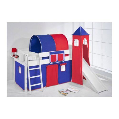 comprar cama corcega con tobogan cortinas azul rojo y somier