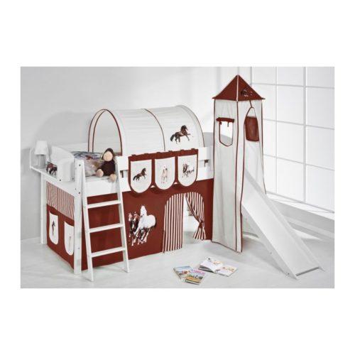 comprar cama corcega con tobogan cortinas caballo marron y somier