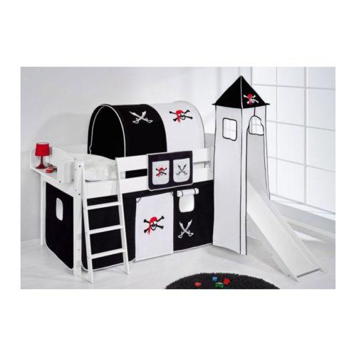 comprar cama corcega con tobogan cortinas pirata negro blanco y somier