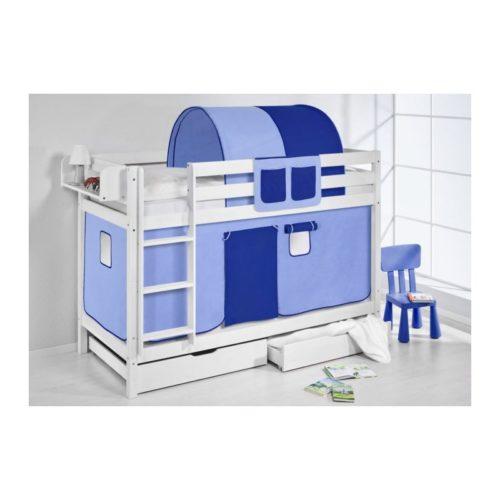 comprar litera capri con cortinas azul claro azul oscuro y somieres