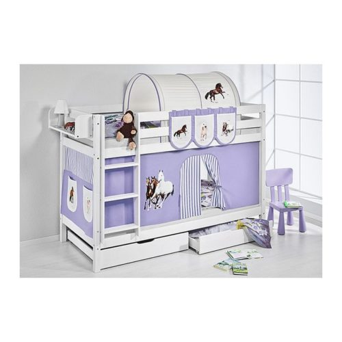 comprar litera capri con cortinas caballo lila y somieres