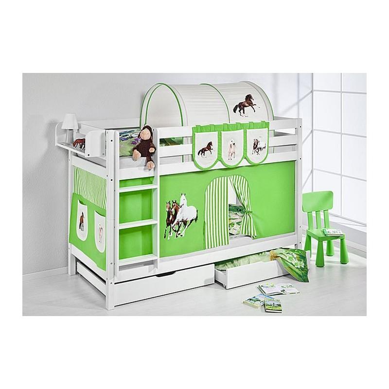 comprar litera capri con cortinas caballo verde y somieres