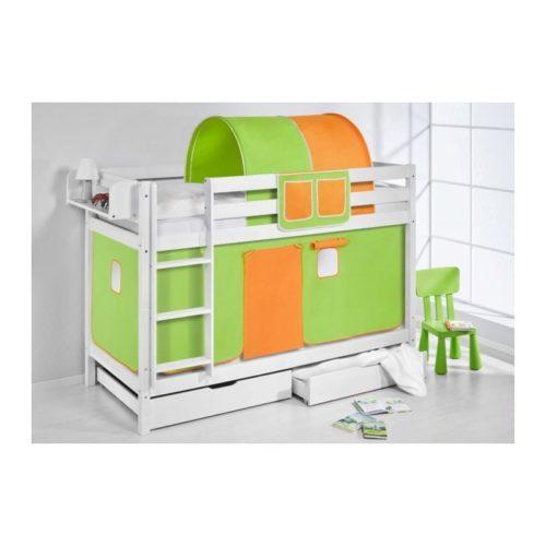 comprar litera capri con cortinas verde naranja y somieres