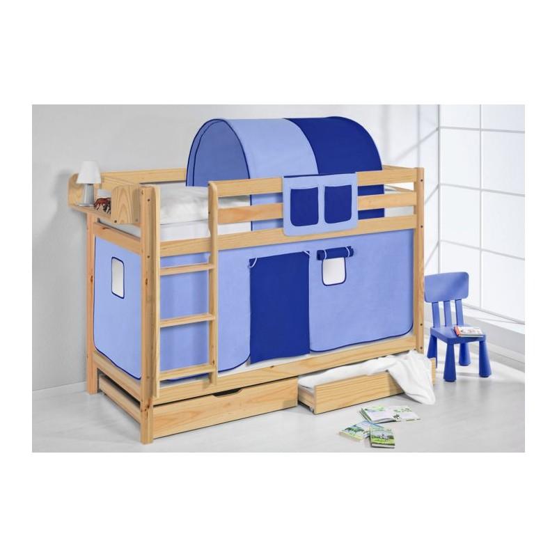 comprar litera capri natural con cortinas azul claro azul oscuro con somieres