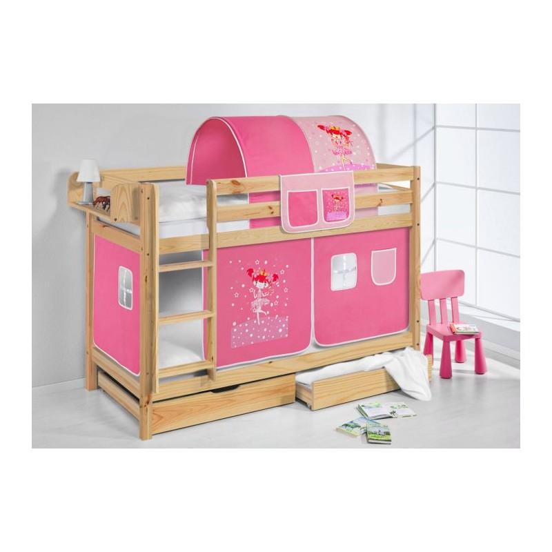 comprar litera capri natural con cortinas bailarina rosa y somieres
