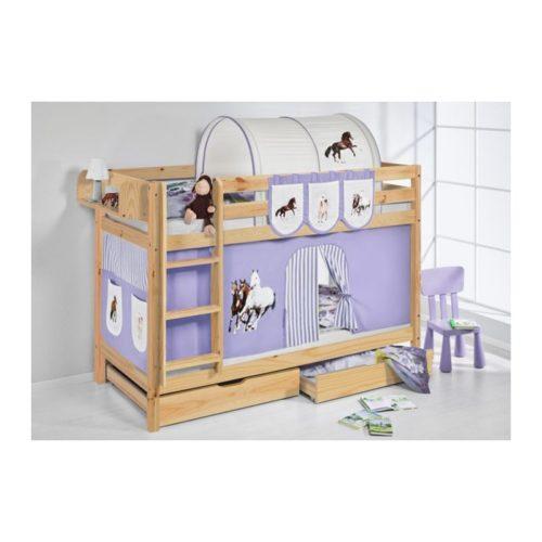 comprar litera capri natural con cortinas caballo lila y somieres