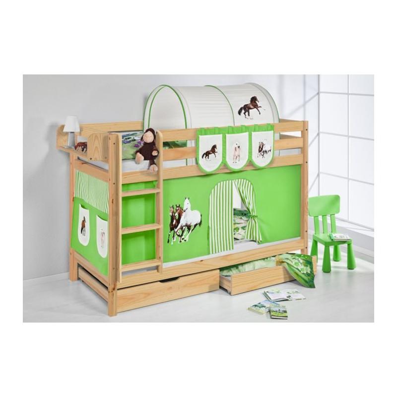 comprar litera capri natural con cortinas caballo verde y somieres
