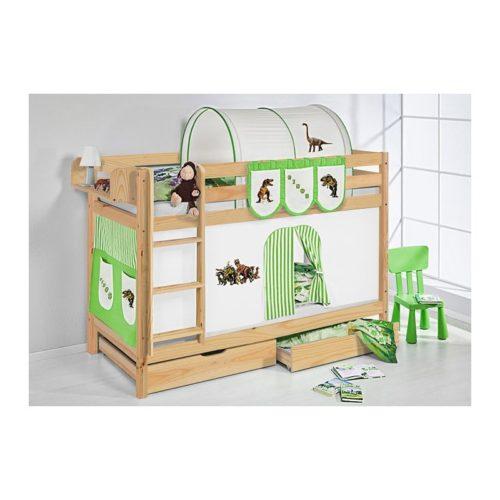 comprar litera capri natural con cortinas dinosaurio verde y somieres