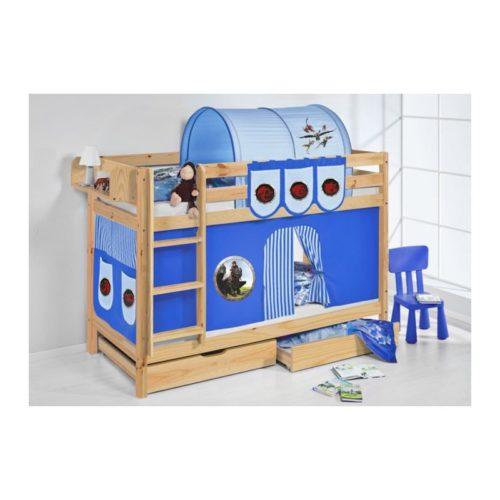 comprar litera capri natural con cortinas dragon azul y somieres