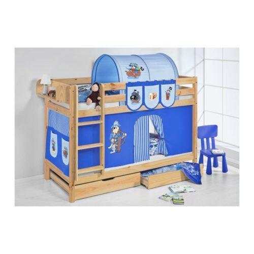 comprar litera capri natural con cortinas pirata azul claro azul oscuro y somieres