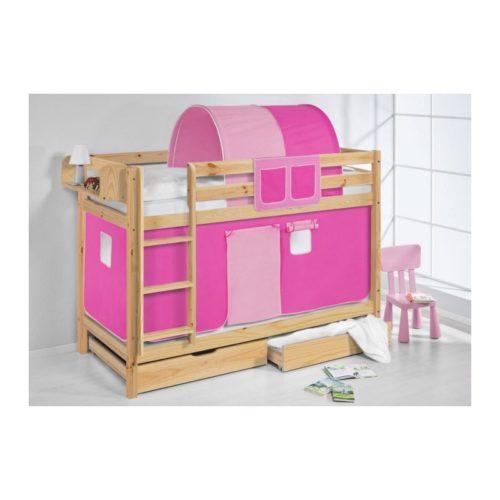 comprar litera capri natural con cortinas rosa pink y somieres