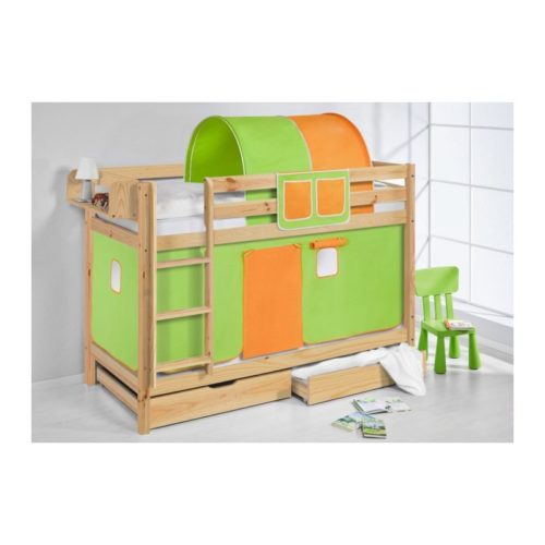comprar litera capri natural con cortinas verde naranja y somieres