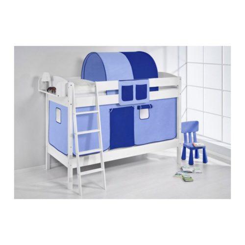comprar litera creta con cortinas azul claro azul oscuro y somieres