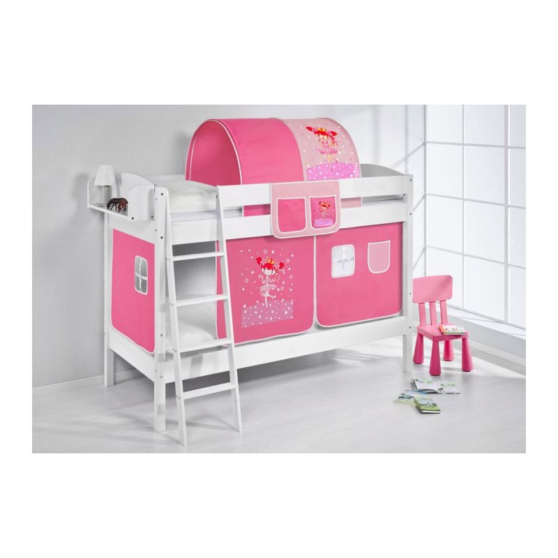comprar litera creta con cortinas bailarina rosa y somieres