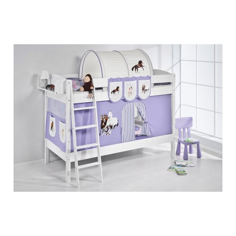 comprar litera creta con cortinas caballo lila y somieres