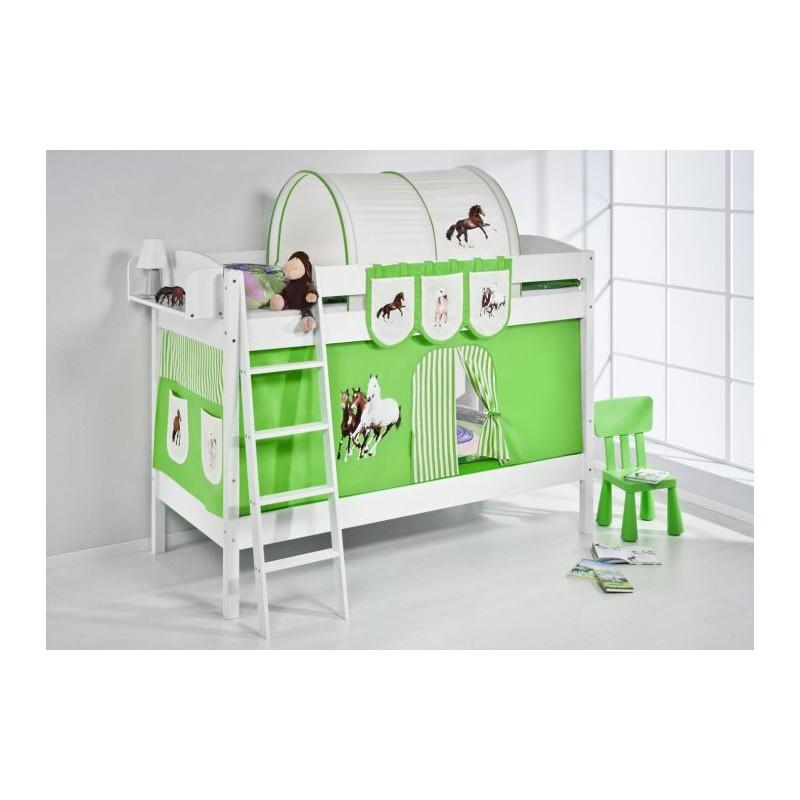 comprar litera creta con cortinas caballo verde y somieres