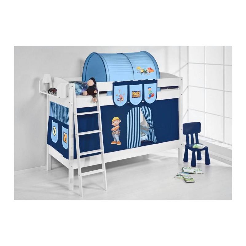 comprar litera creta con cortinas chico bob azul y somieres