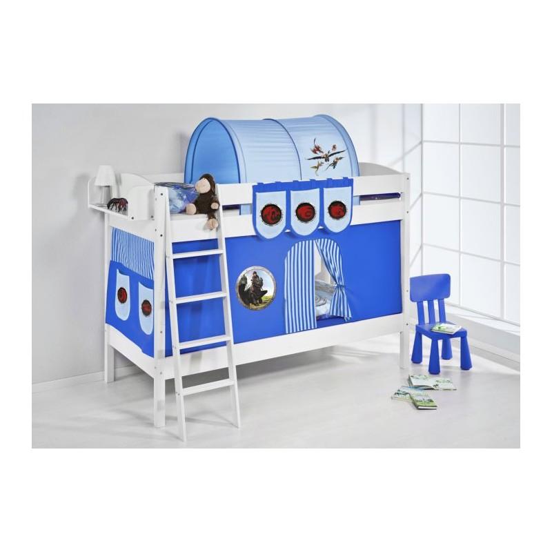 comprar litera creta con cortinas dragon azul y somieres