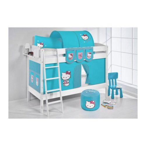 comprar litera creta con cortinas hello kitty azul y somieres