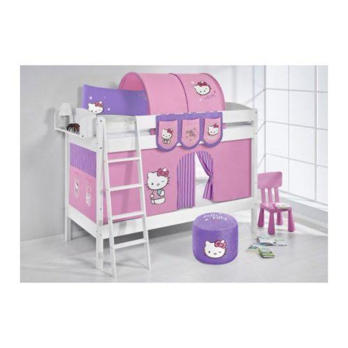 comprar litera creta con cortinas hello kitty lila y somieres