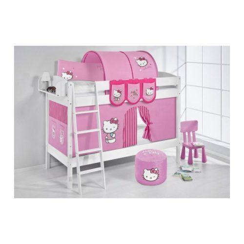 omprar litera creta con cortinas hello kitty rosa y somieres