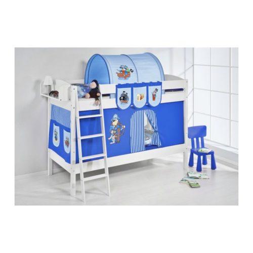 comprar litera creta con cortinas pirata azul y somieres