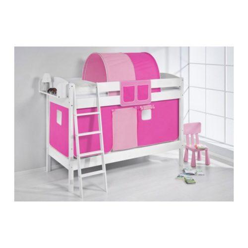 comprar litera creta con cortinas rosa pink y somieres